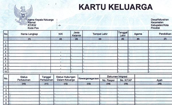 Template Kartu Keluarga PSD